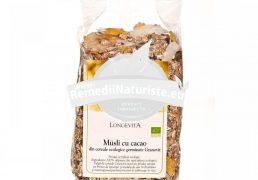 MUSLI CACAO GRANOVIT 400gr LONGEVITA Tratament naturist aliment ecologic pentru o dieta sanatoasa amestec de fulgi, cereale si fructe