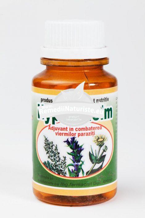 HYPER-HELM 60cps HYPERICUM Tratament naturist combaterea viermilor intestinali giardioza ascardioza oxiuroza
