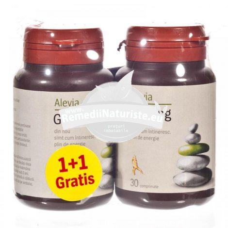 PACHET - GINSENG 30cpr (1+1 gratis) ALEVIA Tratament naturist stres oboseala vitalizant imbunatateste activitatea fizica si mentala
