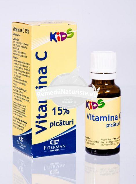 VITAMINA C KIDS SOLUTIE 20ml FITERMAN Tratament naturist perioada de crestere si dezvoltare a organismului perioada de crestere si dezvoltare la copii favorizeaza fixarea calciului absorbtia calciului