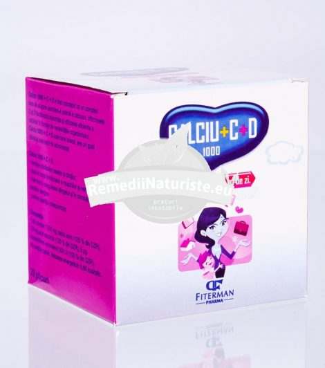 CALCIU 1000+D3 +VIT.C 20pl FITERMAN Tratament naturist sanatatea oaselor a dintilor buna functionare a nervilor si muschilor urticarie