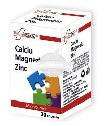 CALCIU MAGNEZIU ZINC 30 cps FARMACLASS Tratament naturist migrene oboseala profilaxia cariei oase