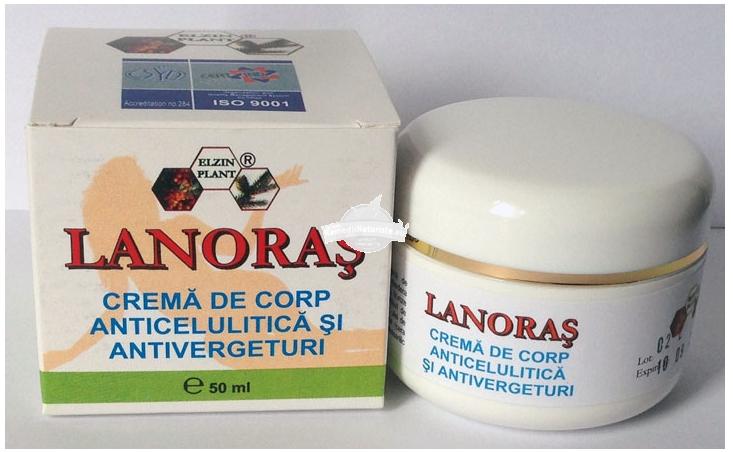 CREMA ANTICELULITICA SI ANTIVERGETURI LANORAS 50ml ELZIN PLANT Tratament naturist crema corp hidratanta hidratanta