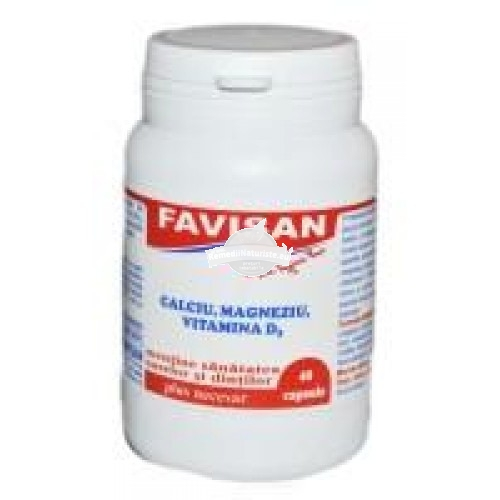 FAVIMIN + D3 (CA,MG,D3) 40cps FAVISAN Tratament naturist protejeaza stomacul crestere sarcina alaptare