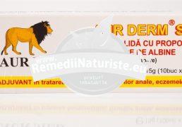 "AUR DERM ""S""SUPOZITOARE CU PROPOLIS SI MIERE 10×1,5g LAURMED Tratament naturist hemoroizi fisuri anale eczeme antioxidant"